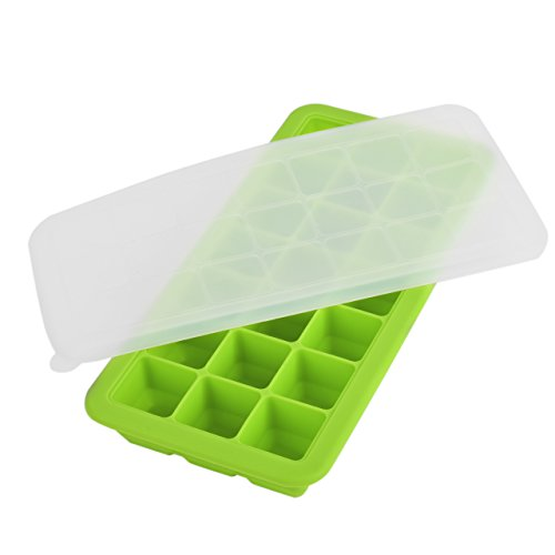 Newcomdigi Ice Cube Tray Silicone with Lid Green Soft with Cover (Green)