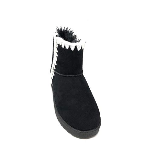 3 Bohemia Botines Mujer Zapatillas Cm Muy Nieve Tacón Moda 2 Negro Angkorly Plano Piel De Sintética Cosido Folk Suave Botas Ea0qqw