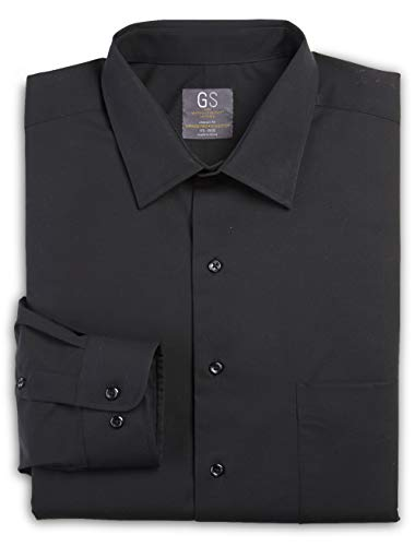 Gold Series By DXL Big and Tall Broadcloth Dress Shirt (18 35/36, Black)