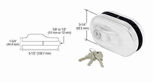 CRL Chrome Finish Glass Mounted Slip-on Patch Lock for use with 1/2
