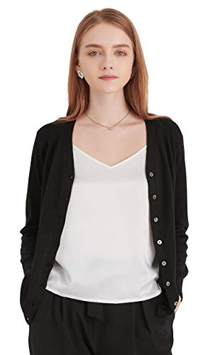 (LilySilk Silk Cashmere Cardigan Essential V Neck Lightweight with Buttons Sweaters Long Sleeve Knit Outerwear Black M/8-10)