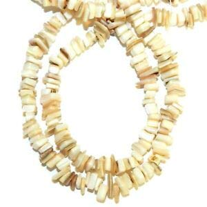 Steven_store MP2582f White to Brown 5mm - 9mm Square Chip Mother of Pearl Shell Beads 32
