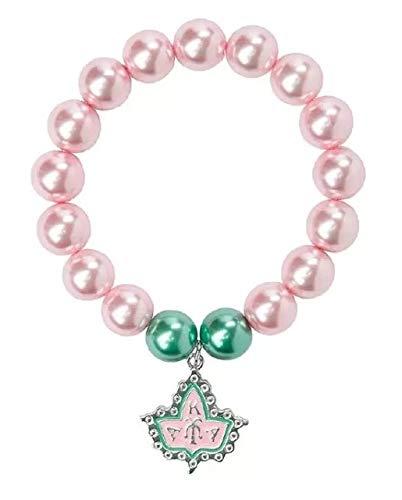 Gabcus Greek AKA Ivy Pink and Green Pearl Bead Stretch Bracelet Jewelry - (Metal Color: Pink Ivy)