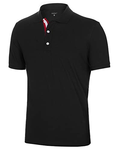 - Innersy Men's Classic Fit Stretch All Cotton Solid Pique Polo Shirts (XXL, Black)