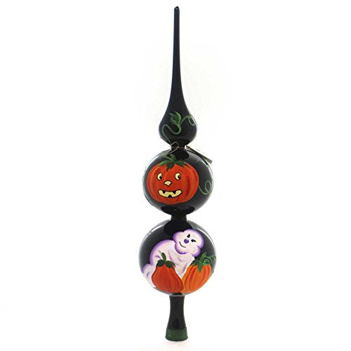 LAVED ITALIAN ORNAMENTS HALLOWEEN GHOST PUMPKIN FINIAL Glass Italian ()
