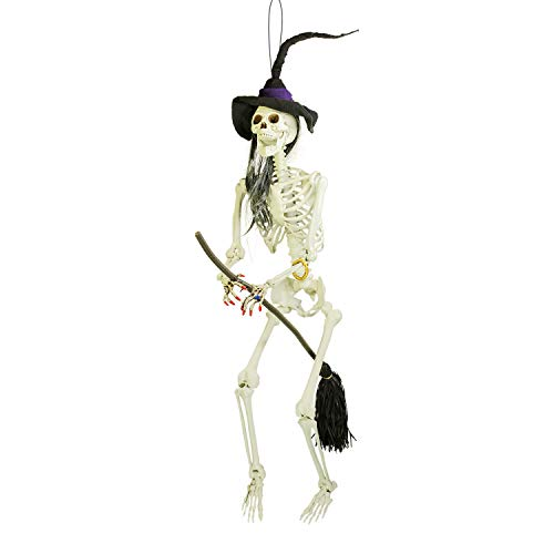 Halloween Haunters 6 Foot Hanging Scary Evil Skeleton Wicked Witch Flying on Her Broomstick Prop Decoration - Posable Joints, Realistic Human Bones Skull - Haunted House Graveyard Entryway Display