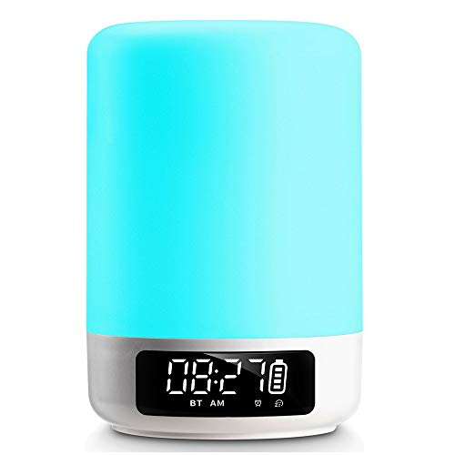 Aisuo Night Light, Touch Sensor Table Lamp with Bluetooth 4.1 HiFi Speaker and Alarm Clock, Rechargeable Lithium Battery, Hands Free Call & TF Card Supported, Ideal Gift for Kids, Women, Friends.