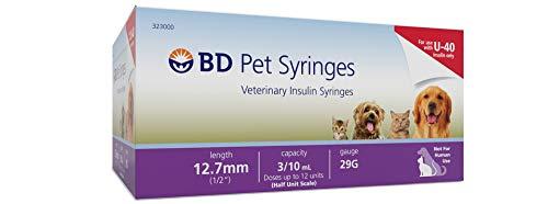BD U-40 Pet Syringes Veterinary Insulin Syringe 12.7mm 3/10mL 29G(100 Count)
