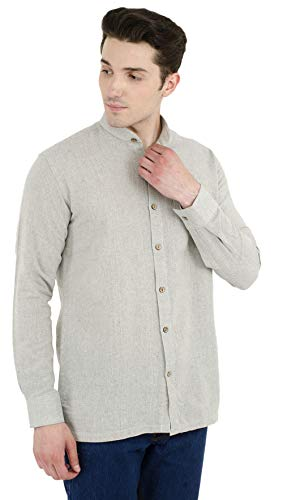 SKAVIJ Button Down Shirts for Men Cotton Long Sleeve Casual Shirts Regular Fit Grey by SKAVIJ (Image #2)