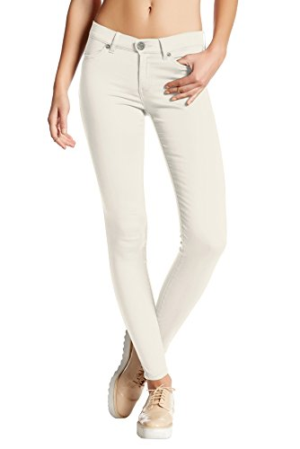 (HyBrid & Company Womens Super Stretch Comfy Skinny Pants P44876SK Off White Small)