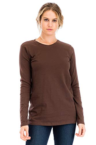 Casual Cotton Crew Neck Long Sleeve T-Shirt Top Brown M