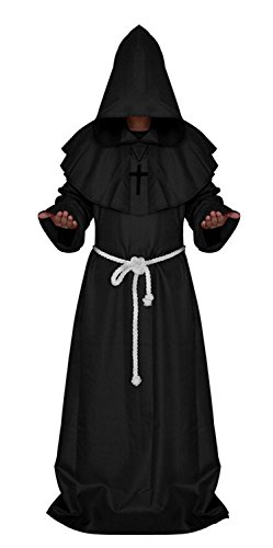 H&ZY Medieval Friar Monk Robe Cosplay Halloween Hooded Cape Unisex Costume Cloak Black
