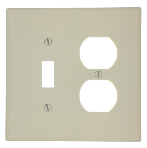 Leviton 80505-I 2-Gang 1-Toggle 1-Duplex Device Combination Wallplate, Midway Size, Ivory