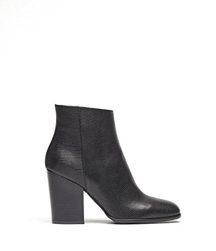 PoiLei Sole - chaussure femme / bottines en cuir à talon épais mi-haut - avec bout pointu / style western noir