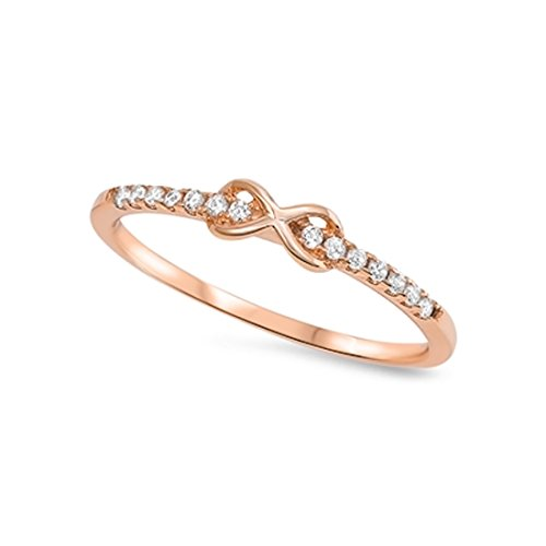 Cute Infinity Crisscross Knot Ring Round Cubic Zirconia Rose Tone Rhodium Plated 925 Sterling (Cubic Zirconia Knot Ring)