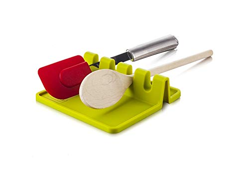 , ICASA, Heat Resistant Ladle Fork Mat Giant Spoon Rest Ladle Spoon holder (Green) ()
