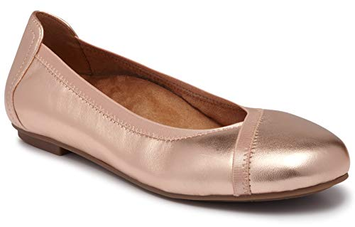 (Vionic Women's Spark Caroll Ballet Flat - Ladies Dress Casual Shoes with Concealed Orthotic Arch Support Rose Gold 9.5 W US)
