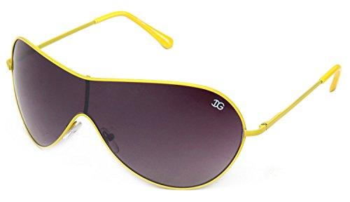 IG Metal Shield Fashion Slim Temple Sunglasses in Yellow