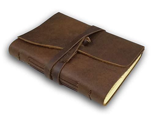 (RUSTIC TOWN Handmade Vintage Antique Looking Genuine Leather Journal Diary Notebook for Men Women Gift for Him Her)