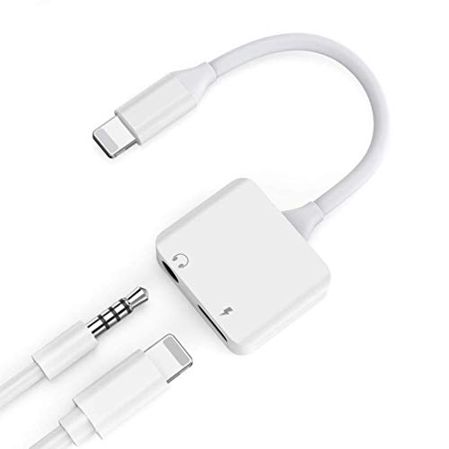 Jack Phone 8 Adapter Headphones Charging Aux Audio Adaptor Accessories Converter Extender Stereo Charger Cables Music iPhone7/7Plus/8Plus/iphonex/10 Converter Support 10.3/11 iOS-White