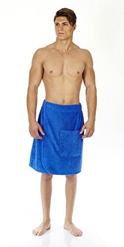Terry Skirt Wrap - Arus Men's Organic Turkish Cotton Adjustable Closure Spa Shower and Bath Wrap Royal Blue L/XL