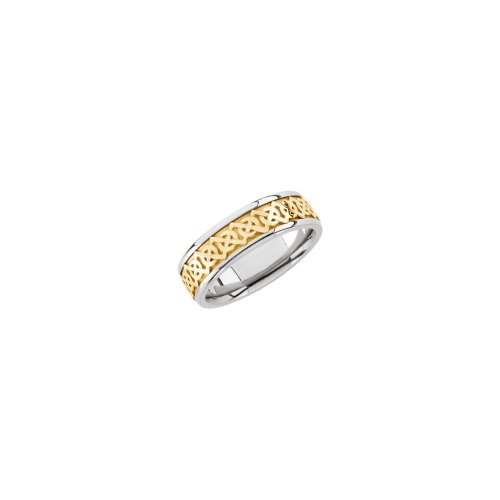 White Band Bridal Celtic Gold (White-and-yellow-gold Bridal Celtic Band Two Tone)