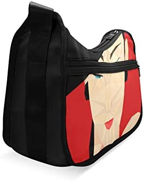 Black Cap And Red Lip Woman Messenger Bag Crossbody Bag Large Durable Shoulder School Or Business Bag Oxford Fabric For Mens Womens