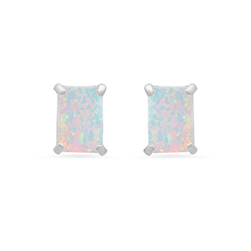 14k White or White Gold Solitaire Emerald-Cut Created Opal Stud Earrings ()