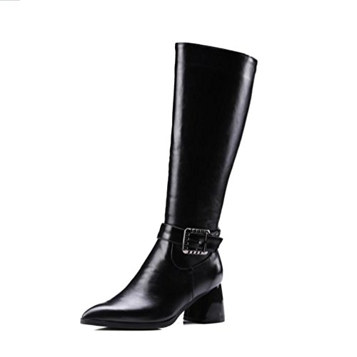 Ei&iLI Hiver Malorie bouton haut Fashion femmes bottes en similicuir extérieur / occasionnel , black , 32