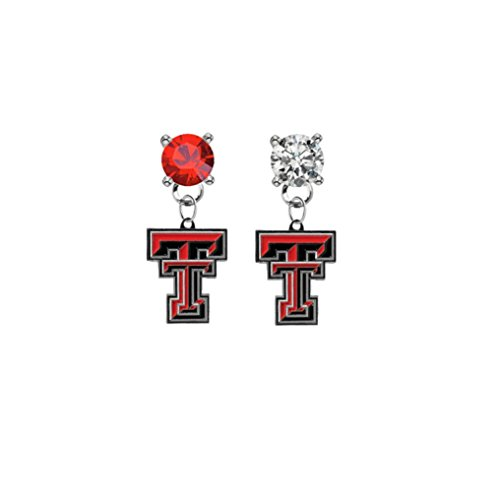 (Texas Tech Red Raiders Red & Clear Crystal Stud Post Dangle Earrings)