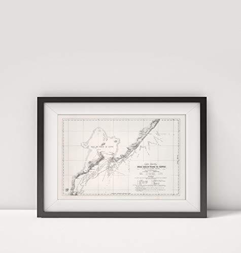- 1823 Map of Brazil Carta ridotta Della baia di Todos os Santos Espirito Santo (Brazil) Title: Carta