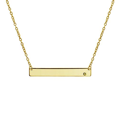 Bling Jewelry Engravable Sideways Bar Name Plate Pendant Necklace for Women Yellow Birth Month Crystal 14K Gold Plated Sterling Silver