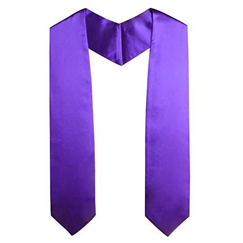 OSBO GradSeason Unisex Adult Plain Graduation Stole for Academic Commencements, 60'' long (Purple) -