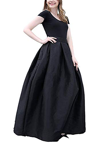 - PROMLINK Women Long Taffeta Maxi Skirt A-line Party Dress with Pockets,Black