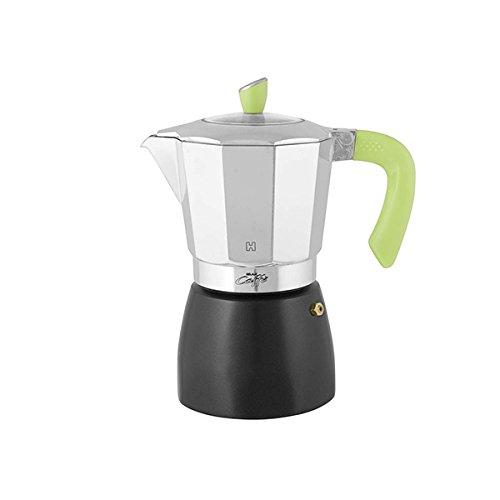 HABI kpb900Kaffeekanne Gran Kaffee für 9Tassen, Aluminium, schwarz/grün