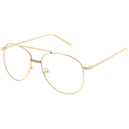 sunglassLA - Classic Metal Aviator Eye Glasses Double Nose Bridge Clear Lens 55mm (Gold / - Asos Glasses