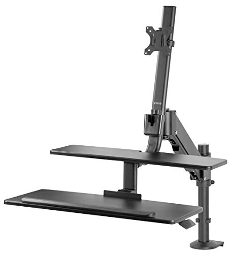 VIVO Black Single Monitor Sit-Stand Height Adjustable Workstation Standing Desk Mount Riser with Keyboard Tray | Screens up to 32 inches (STAND-SIT1D)