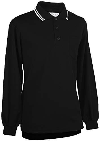 Smitty   BBS-301   Major League Style Long Sleeve Performance Mesh Umpire Shirt   Accommodate Chest Protector   Baseball Softball   Umpire's Choice! (Black with White Trim, XL)