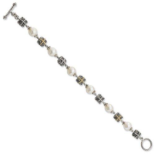 Icecarats Créatrice De Bijoux En Argent Sterling W / 14K 9-10Mm Perle De Culture D'Eau Douce 8In Bracelet En 8 Pouces