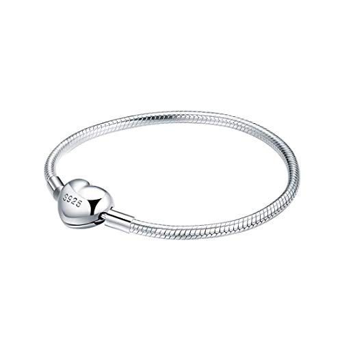 ChicSilver 3MM 925 Sterling Silver Basic Charm Bracelet Snake Chain Bracelets with Heart Clasp Charms 6.3
