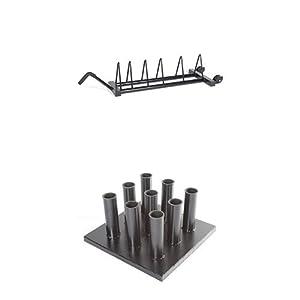 CAP Barbell Horizontal Olympic Plate Rack and Vertical Olympic Bar Rack Bundle