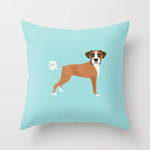 - Soft Cotton Throw Pillow Cover with Invisible Zipper for Bed Sofa Cushion Pillowcase for Bedding 18x18 inch - Boxer Funny Fart Dog Pure Breed Gifts Dog Lovers