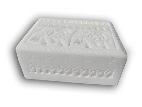 Handmade White Soapstone Trinket, Jewelry Storage Box. Engraved Carved, Elephant Design. (Carvings Stone Alabaster)