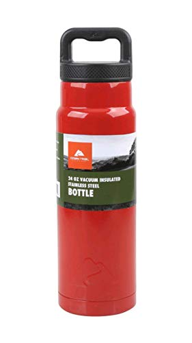 Ozark Trail 24 Ounce Vacuum-Insulated Stainless Steel Water Bottle- Red