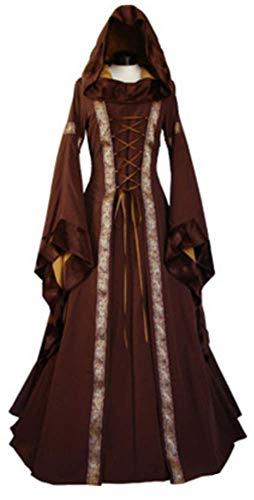 Dguisement Manche Longue Robe de Costume YOGLY Soire Capuche Mdivale Robe Femme Retro Marron Vintage Halloween Evass Renaissance ptwwxzqU8