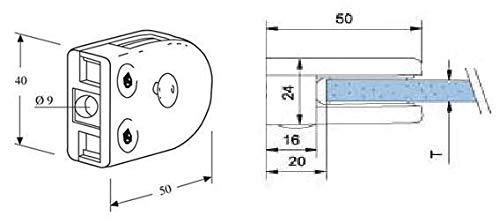 Anschluss: Flach Glasst/ärke: 8mm Glashalter aus Edelstahl V2A massiv f/ür Vierkantrohr oder an /Ø42,4mm