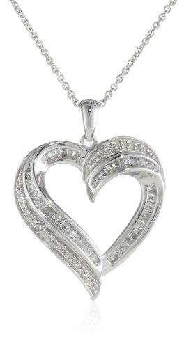 Sterling Silver Diamond Heart Pendant Necklace (1/2 cttw), 18