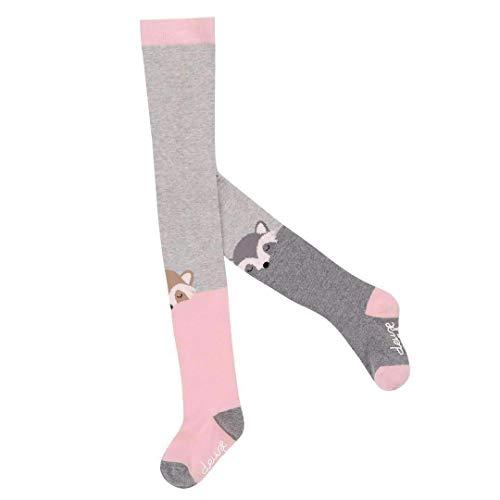 Par Deux Deux Tights - Deux par Deux Pink & Gray Raccoon Tights - 9-Dec/Pink/Gray