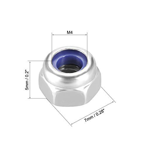 304 Stainless Steel M4 x 0.7mm Hexagonal Safety Nuts with Nylon Insert Pack of 50 Smooth Finish