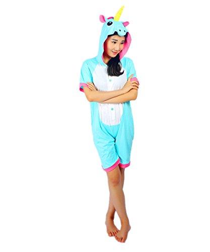 Kenmont Unicorn Pijamas Traje Disfraz Adulto Animal Pijamas Cosplay Halloween Verano (S: 145-155cm, Azul Unicornio): Amazon.es: Juguetes y juegos